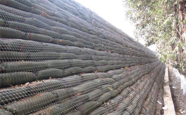 土工格栅辅助生态袋护理陡峭边坡